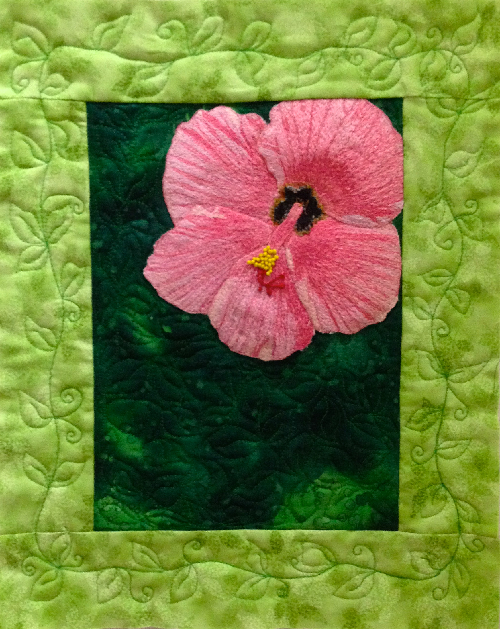 Thread painted floral art quilt hibiscus flower izmirmasajfo